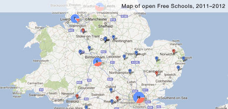 Map of open Free Schools 2011 - 2012